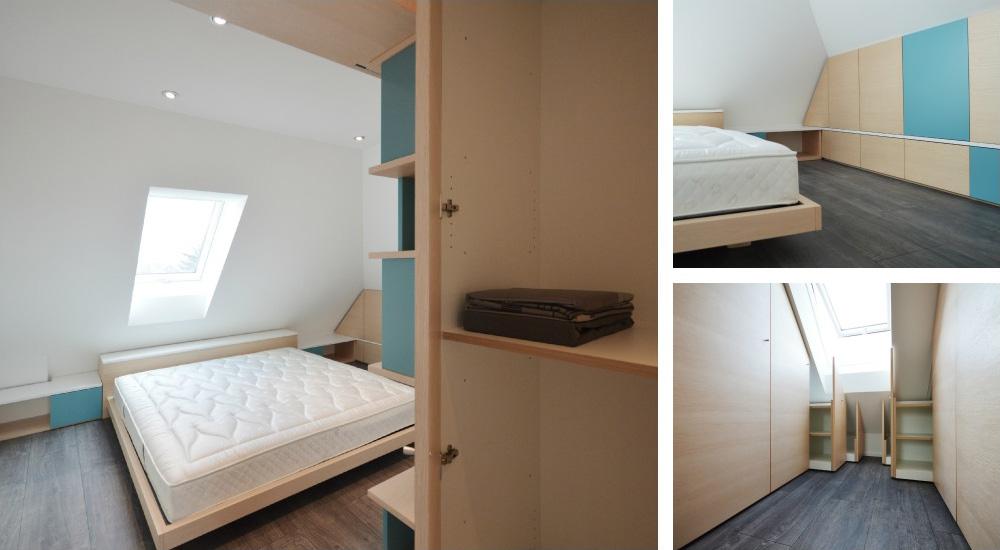 Camera da letto in mansarda okap mobili su misura - Letto ad armadio a scomparsa ...